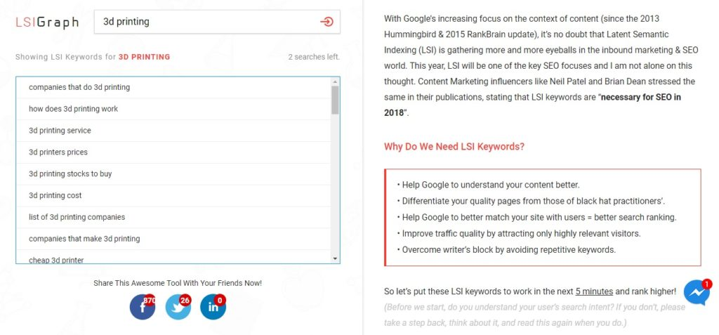 Using LSI Graph to generate keywords for 3D printing gives this list of results you can use in writing good SEO.